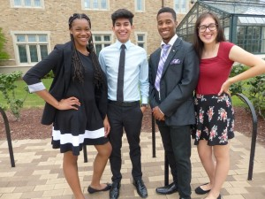 (Left to right)) Sharmylla Littleton, Ronnie Alvarez, Rashad Prendergast and Stephanie Camarena, four seniors at Detroit's Cass Tech High School, pose for a picture during their U-M internship.