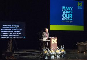 President Mark Schlissel speaks at Thursday's launch of the universitywide plan for diversity, equity and inclusion. (Photo by Austin Thomason, Michigan Photography)