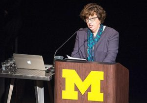 Provost Martha Pollack addresses the audience on hand for the launch. (Photo by Austin Thomason, Michigan Photography)