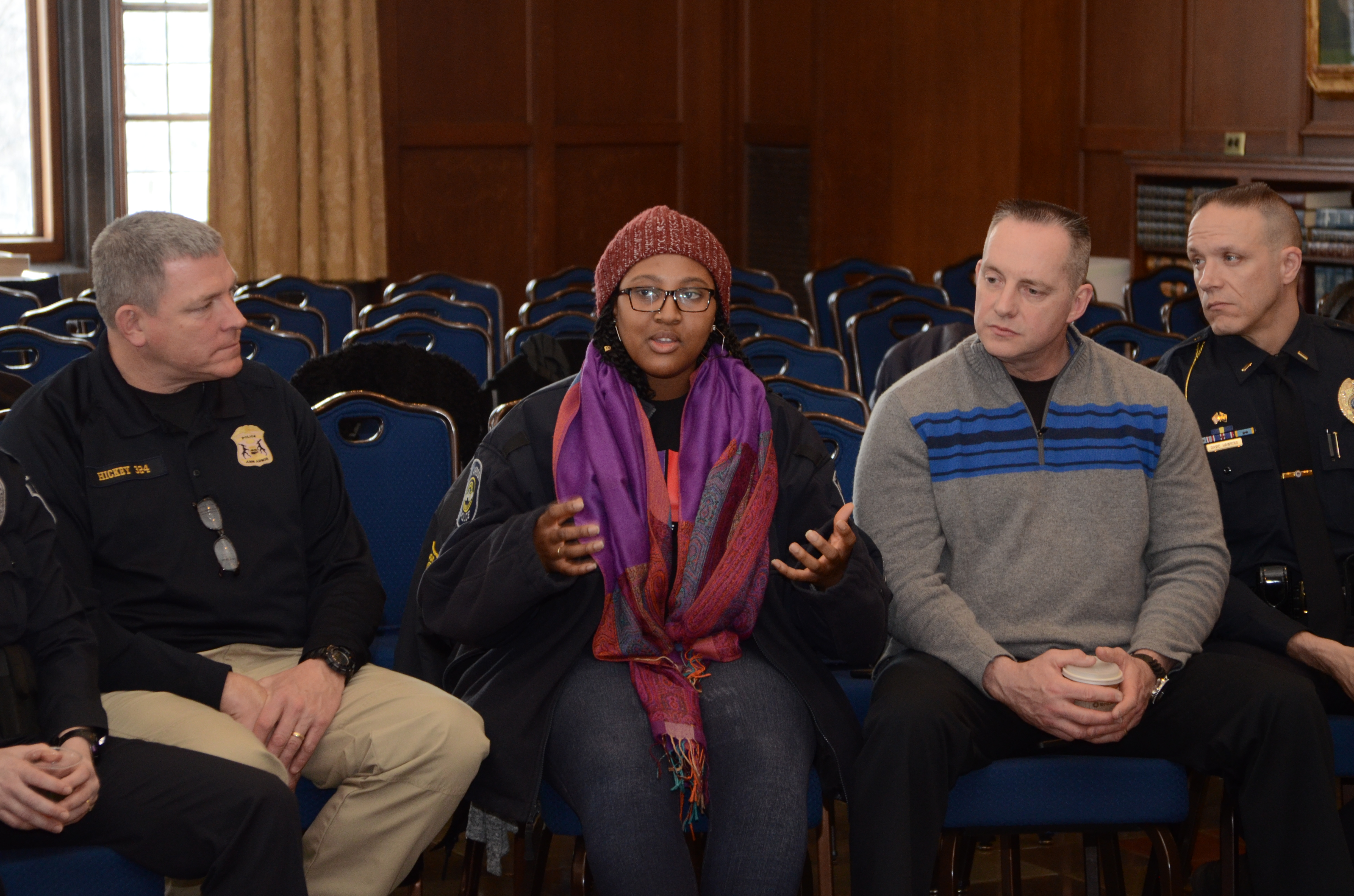 Students of Color met with local law enforcement to discuss the political and social climate on campus and nationally.