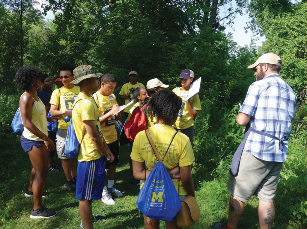Ypsilanti's Wolverine Pathways students tour the Matthaei Botanical Gardens during their project-based science course. (Photo courtesy of Wolverine Pathways)