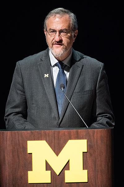 President Mark S. Schlissel speaking.