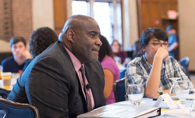 U-M students participated in an interactive program with U-M leaders detailing the university and Office of Student Life diversity, equity and inclusion plans at the Michigan Union Ballroom.