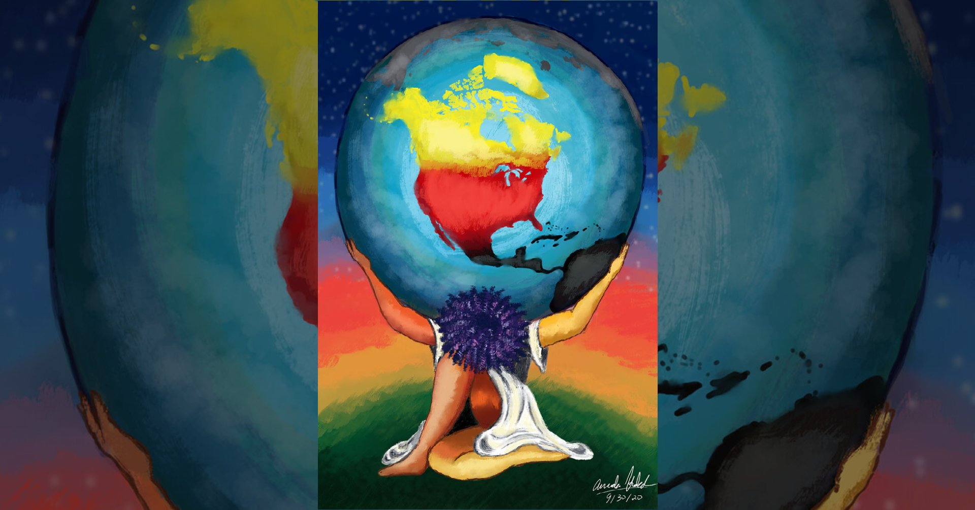 """Amanda Hudeck, public engagement coordinator at the Center for Educational Outreach, submitted this piece, titled """"The Weight of the World,"""" as part of the DEI Summit."""